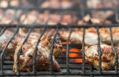 Fritando a carne nos carvões fotos de stock royalty free