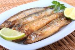 Fritando o badejo pequeno dos peixes e o limão cortado na placa branca Bom petisco à cerveja Fotos de Stock