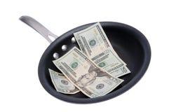 Fritando o dinheiro Fotografia de Stock