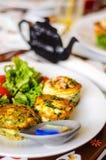 Fritatta degli spinaci Immagini Stock