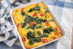 Fritatta with spinach Royalty Free Stock Photography