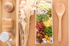 Frite o arroz com a pasta do camarão Foto de Stock