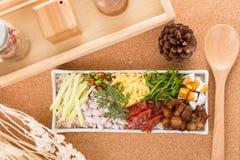Frite o arroz com a pasta do camarão Fotos de Stock Royalty Free