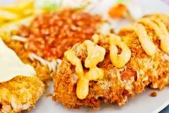 Frite o bife com espaguete fotografia de stock