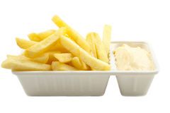 Frites. Box with dutch frites isolated over white stock image
