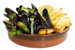 Frites d'avec de Moules Photos stock