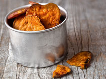 Frites d'or rustiques de patate douce Image libre de droits