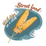 Frites en spirale - illustration de vecteur de nourriture de rue de réaliste d'isolement illustration stock