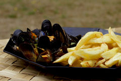 Frites et moules Image stock
