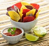 Frites et Salsa de tortilla photos libres de droits