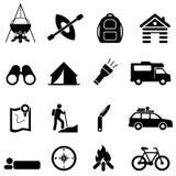 Fritid-, campa och rekreationsymboler royaltyfri illustrationer