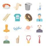 Fritid, hobbyen, sporten och annan rengöringsduksymbol i tecknad film utformar guld belöning, bandsymboler i uppsättningsamling Arkivfoto