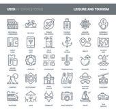 Fritid- och turismsymboler royaltyfri illustrationer