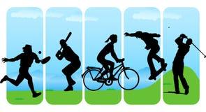 fritid silhouettes sporten stock illustrationer