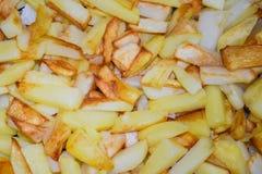 Frito con una corteza de las patatas cortadas imagen de archivo libre de regalías
