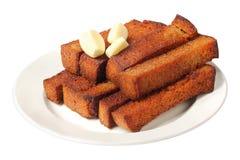 Fritos de pão em um prato imagem de stock