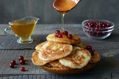 fritos do Russo-estilo no fundo de madeira escuro Imagens de Stock