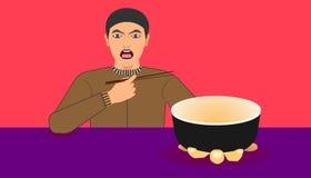 Fritt utrymme på koppen för din matbefordran en man visar en ware för mål som rekommenderas på den vänstra handen, och rätten som stock illustrationer