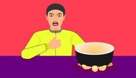 Fritt utrymme på koppen för din matbefordran en man visar en ware för rekommenderat mål illustration eps10 royaltyfri illustrationer