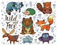 fritt wild För djurvektor för skogsmark stam- uppsättning Royaltyfri Bild