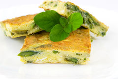Frittata with asparagus Stock Photography
