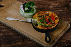 Frittata with asparagus Stock Photo