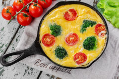 Frittata with broccoli Royalty Free Stock Photos