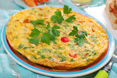 Frittata with chanterelle,onion,pepper and parsley Royalty Free Stock Photography
