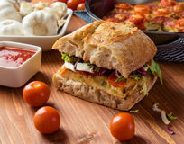 Frittata with ciabatta sandwich Royalty Free Stock Photo