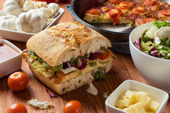 Frittata with ciabatta sandwich Stock Images