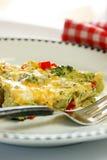 Frittata dell'uovo del formaggio del broccolo Immagini Stock