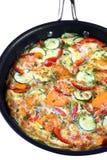 Frittata di verdure in vaschetta di frittura Fotografia Stock Libera da Diritti