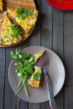 Frittata with eggs and potatoes, top view Stock Image