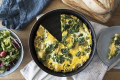 Frittata Flat Lay Royalty Free Stock Images