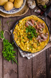 Frittata with herbs and ham Royalty Free Stock Photo