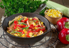 Frittata. With peppers, sausage, corn Stock Image