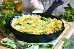 Frittata with potato and broccoli. Royalty Free Stock Photos