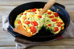 Frittata with Roasted Tomatoes Stock Photos