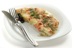 Frittata with salmon and potato Stock Image