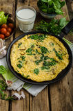 Frittata with spinach and garlic Royalty Free Stock Images