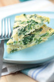 Frittata with spinach and onion Royalty Free Stock Images