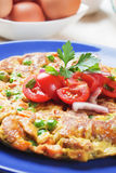 Frittata with tomato salad. Frittata omelet with tomato and onion salad Stock Image