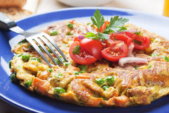 Frittata with vegetables. Frittata omelete with vegetables, rich and healthy meal stock images