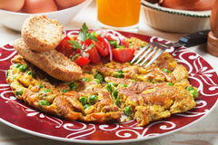 Frittata with vegetables. Frittata with vegetable, traditional italian style omelet Royalty Free Stock Photos