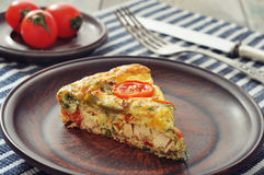 Frittata with Vegetables and Chicken. Frittata with Fresh Vegetables and chicken meat on plate Royalty Free Stock Photo