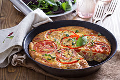 Frittata with vegetables and ham Royalty Free Stock Photography