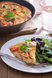 Frittata with vegetables and ham Royalty Free Stock Photo