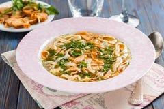 Frittatensuppe - Hühnersuppe mit Eierpfannkuchen Lizenzfreies Stockfoto