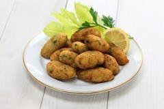 Frittelle del merluzzo di sale (bacalhau, bacalao), crocchette Immagine Stock