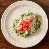 Fritter σπανακιού που ολοκληρώνεται με τις ντομάτες και το τυρί Στοκ φωτογραφία με δικαίωμα ελεύθερης χρήσης